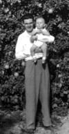 """Earl William Bolen (""""Big Bill"""") and son in Falfurrias, Texas"""